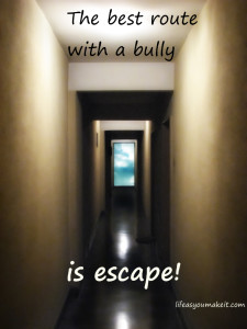 The best route with a bully is escape!
